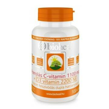 Bioheal Acerolás C-vitamin 1100MG +D3 vitamin 2200NE 105db