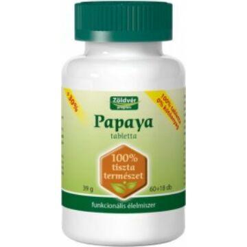Zöldvér 100%-os papaya tabletta 60+18db